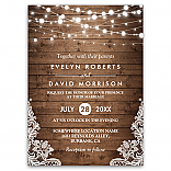 Rustic Country Wood Twinkle Lights Lace Wedding Invitation