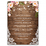 Rustic Wood String Lights Lace Floral Farm Wedding Invitations