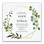 Eucalyptus Geometric Wedding Invitations
