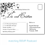 Black Flourish Wedding RSVP Postcard
