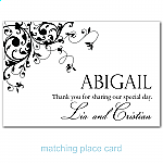 Black Flourish Wedding Place Card