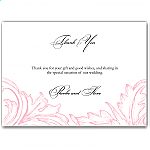 Pink Damask Wedding Thank You Card