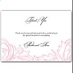 Pink Damask Wedding Thank You Card