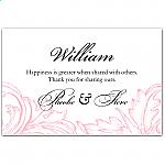 Pink Damask Wedding Place Card