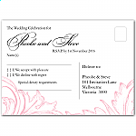 Pink Damask Wedding RSVP Postcard