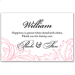 Pink Damask Wedding Place Card