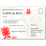 Double Happiness Red Wedding RSVP Postcard