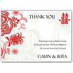 Double Happiness Red Wedding Thank You Card