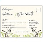 Delicate Autumn Leaves Wedding RSVP Postcard