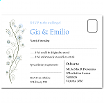 Wildflowers Blue Wedding RSVP Postcard