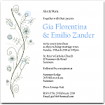 Wildflowers Blue Wedding Invitation