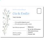 Wildflowers Blue Wedding RSVP Postcard