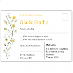 Wildflowers Gold Wedding RSVP Postcard