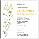 Wildflowers Gold Wedding Invitation