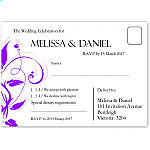 Modern Classic Purple Wedding RSVP Postcard