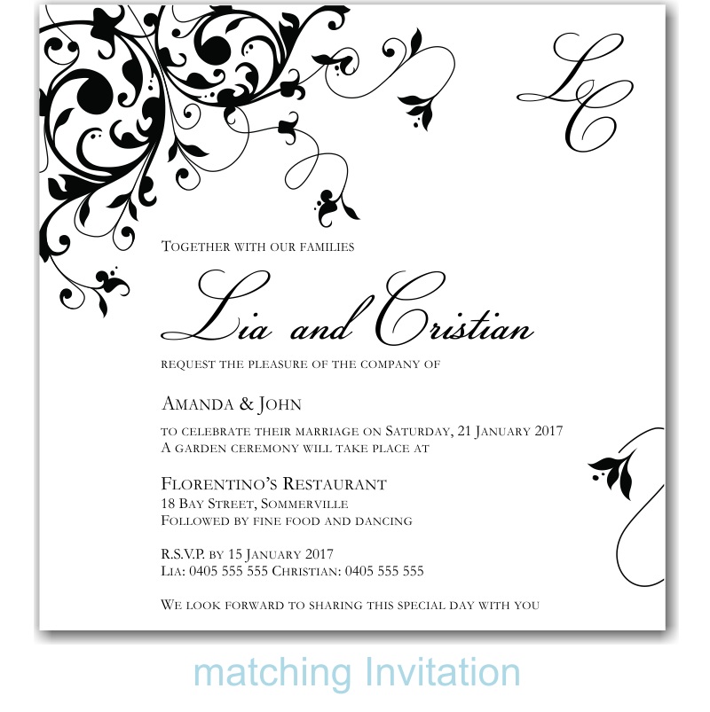 Black Flourish Wedding Invitation