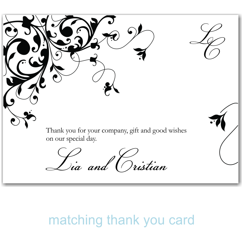 Black Flourish Wedding Thank You Card