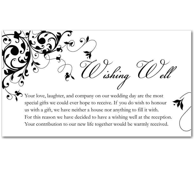 Wording For Wedding Gift Money : Budget Wedding Invitations Wishing Well Cards Black Flourish ...