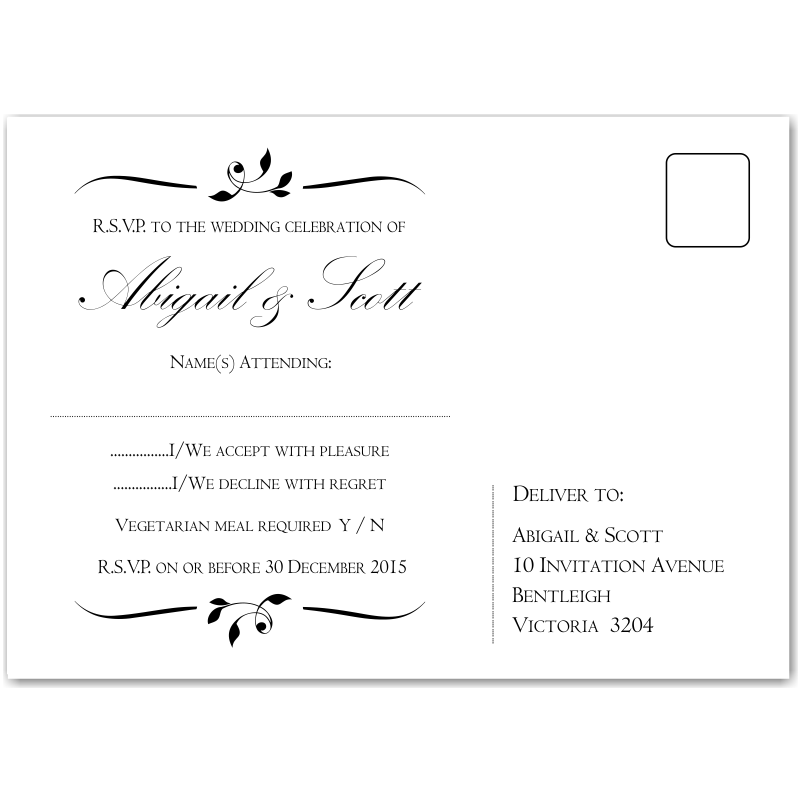 Wedding Invitations Modern Classic Black besides Wedding Invitations Calista together with Whimsical Script Thank You Card in addition Elegant Wedding Invitation S le further Wedding Postcard Save The Date Card. on wedding invitations with free rsvp cards