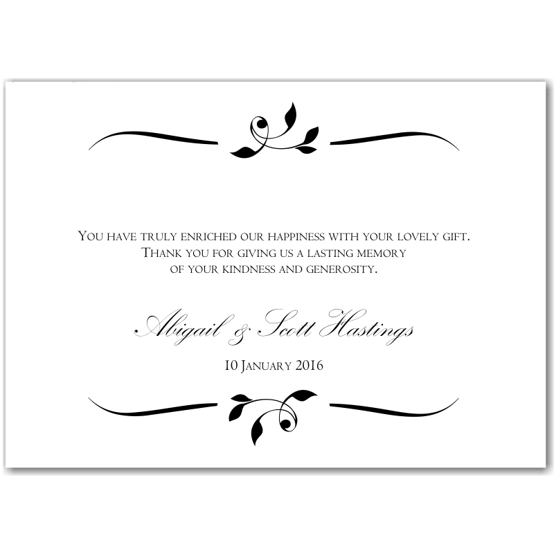 calista wedding thank you card