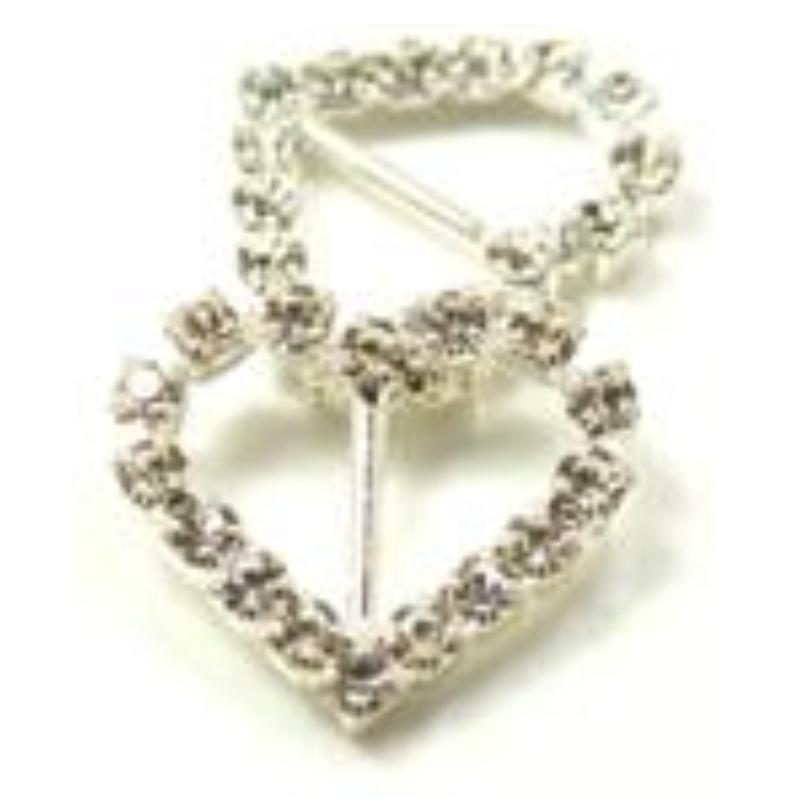 Heart Diamante Invitation Buckles diy heart wedding invitation
