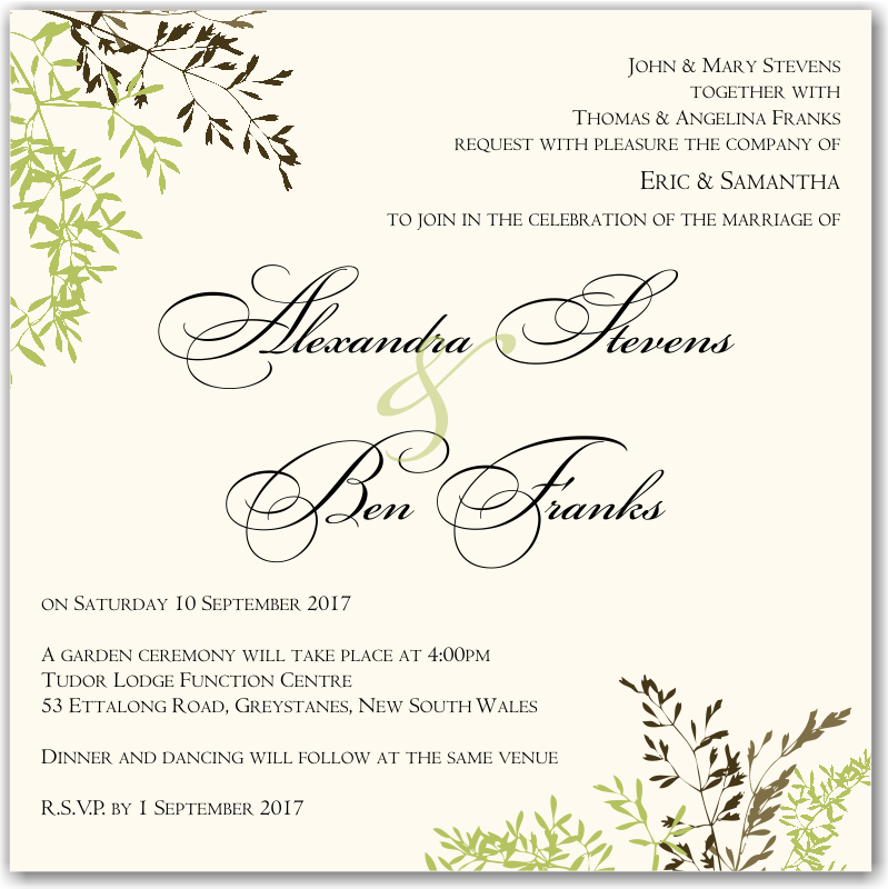 Wedding Invitations Autumn as luxury invitation sample
