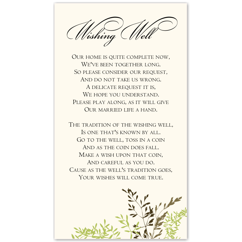 Wedding Wishing Well Invitations: Budget Wedding Invitations Thank You Card Delicate Autumn