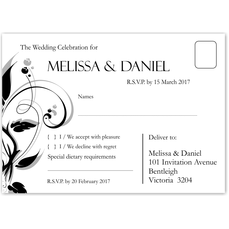 Budget Wedding Invitations Wishing Well Cards Modern Classic Black ...