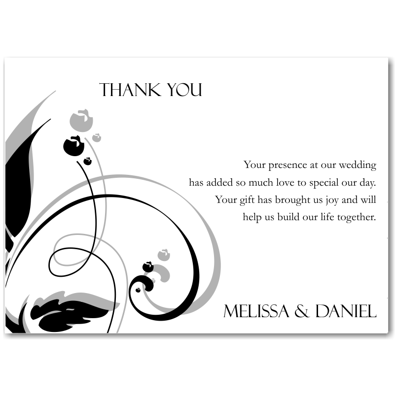 Budget wedding invitations thank you card modern classic black modern classic black wedding thank you card junglespirit Image collections