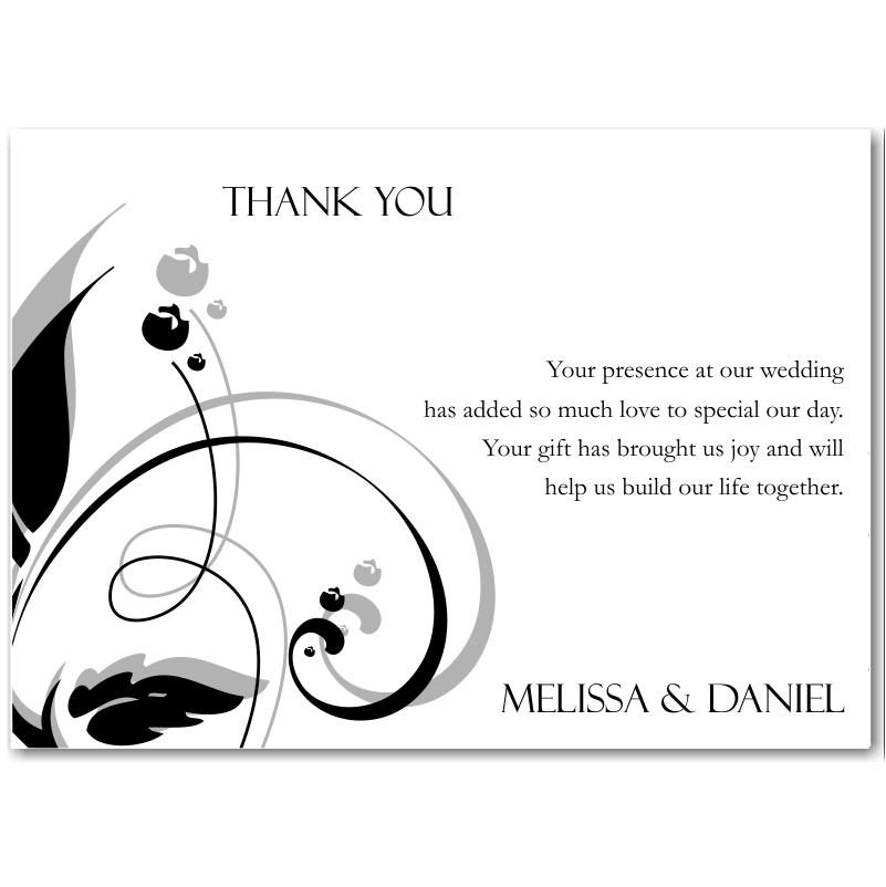 Budget Wedding Invitations Thank You Card Modern Classic Black