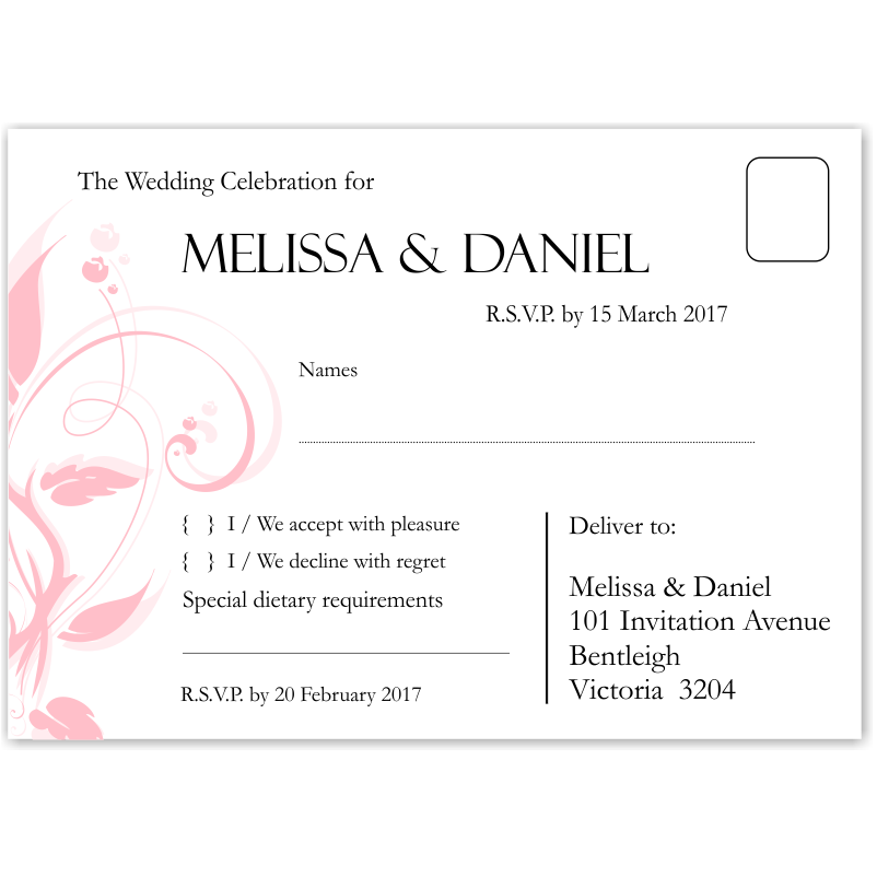 Well known Budget Wedding Invitations Wishing Well Cards Modern Classic Pink  PS79