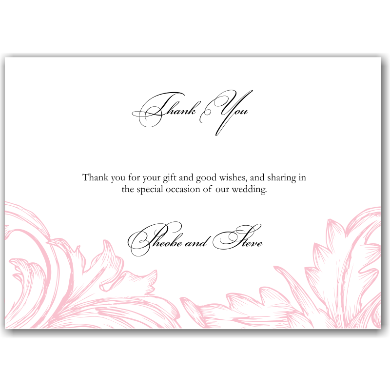Budget Wedding Invitations Thank You Cards Damask Pink