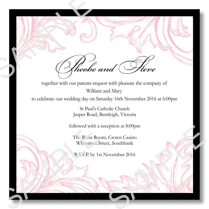 Budget Wedding Invitations Template Wedding Damask Pink ...