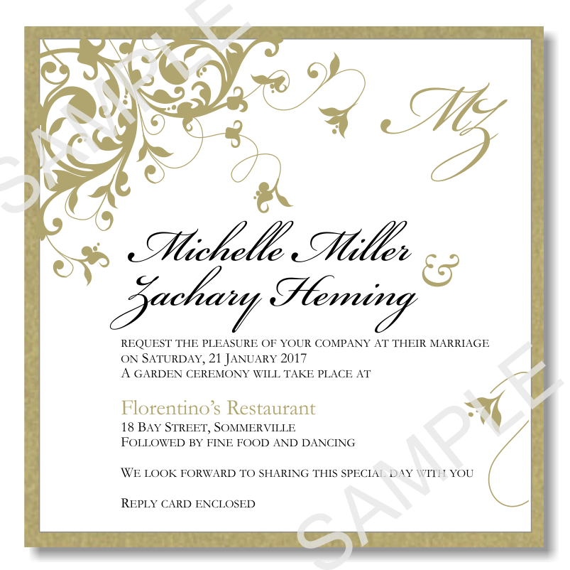 Gold Flourish Wedding Invitation ~ Print Ready PDF File