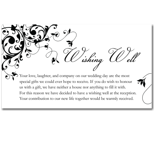 Wording For No Wedding Gifts But Money : Budget Wedding Invitations Wishing Well Cards Black Flourish ...