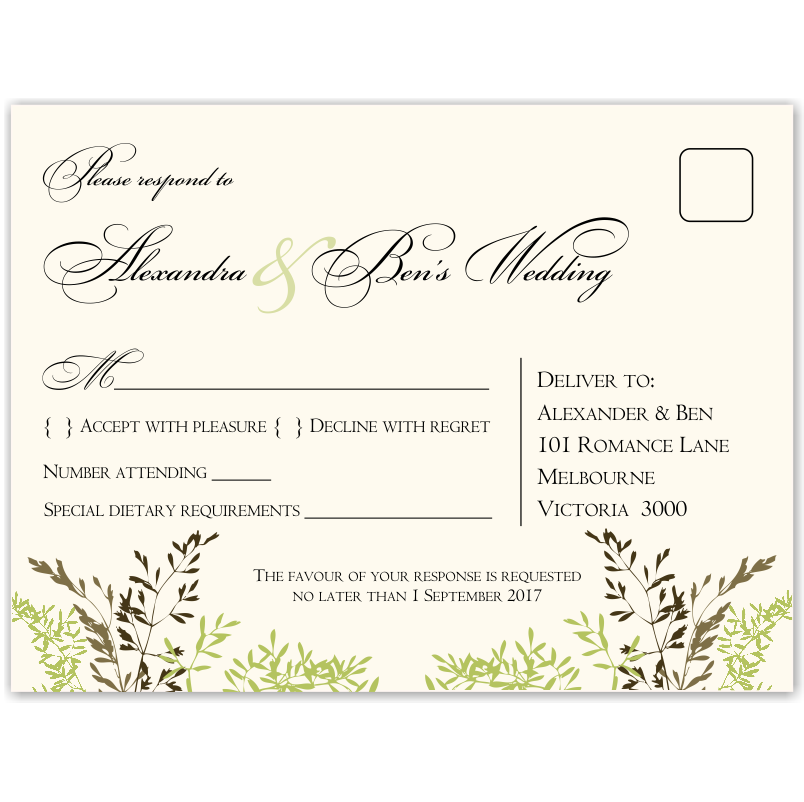 Delicate Autumn Leaves Wedding RSVP Postcard 10Pk