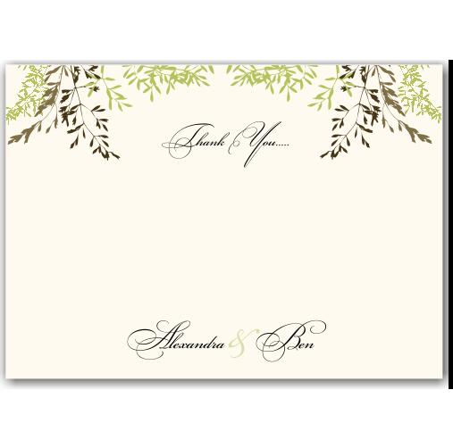 Delicate Autumn Leaves Wedding Thank You Card 10Pk inc envelopes