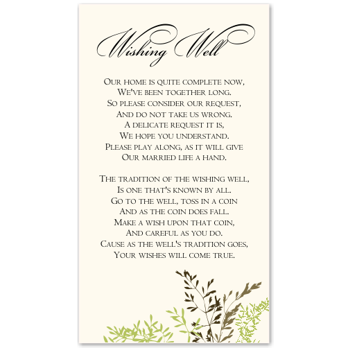 Delicate Autumn Leaves Wedding Wishing Well Card 10Pk