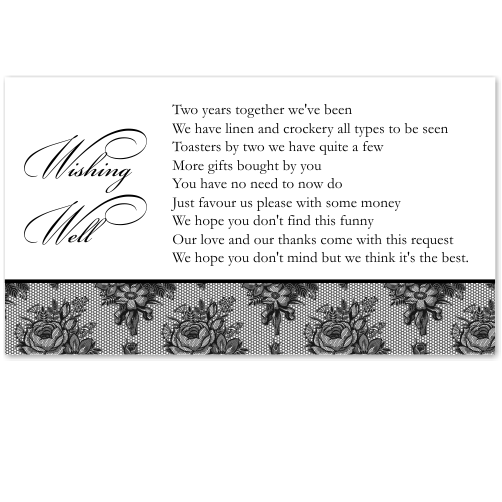 French Classic Wedding Wishing Well Card 10Pk