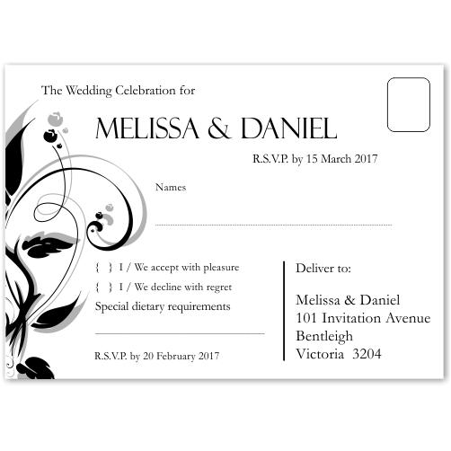 Modern Classic Black Wedding RSVP Postcard 10Pk