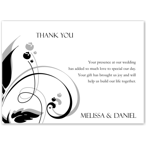 Modern Classic Black Wedding Thank You Card 10Pk inc envelopes