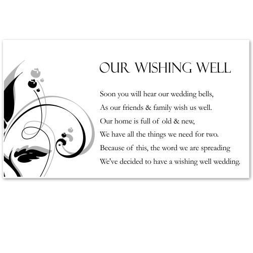 Modern Classic Black Wedding Wishing Well Card 10Pk