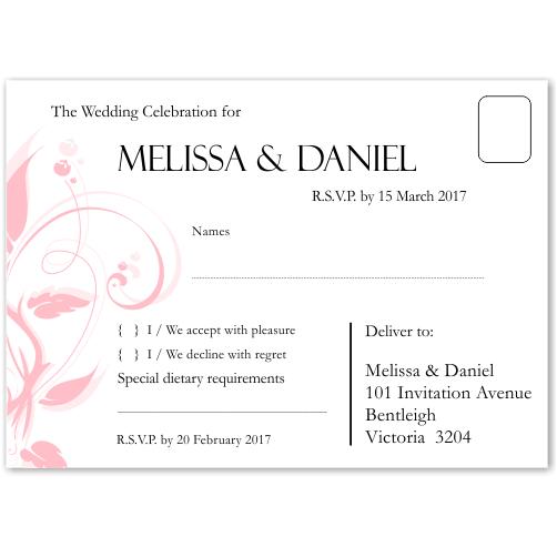 Modern Classic Pink Wedding RSVP Postcard 10Pk