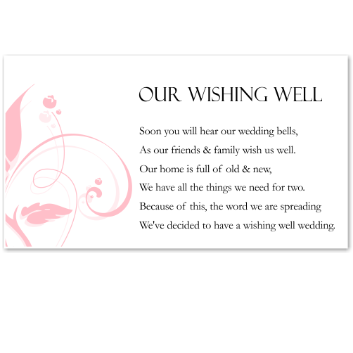 Modern Classic Pink Wedding Wishing Well Card 10Pk