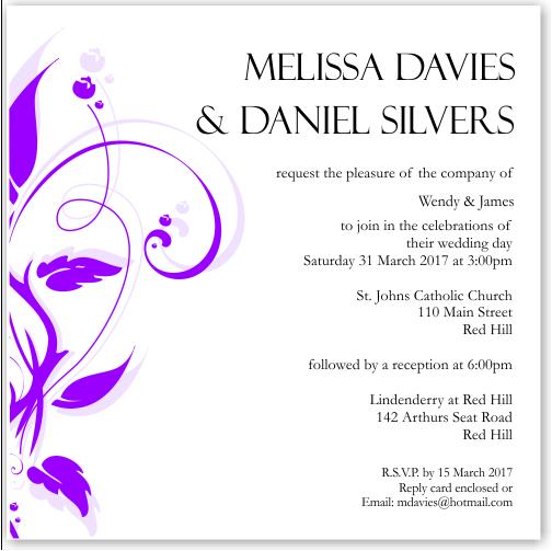 Modern Classic Purple Wedding Invitation 10Pk inc envelopes