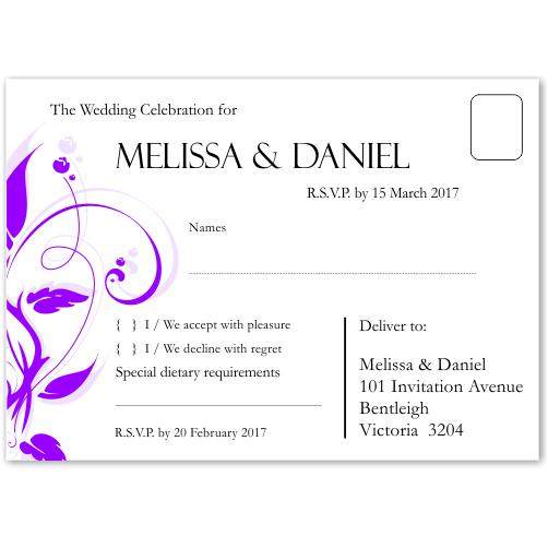 Modern Classic Purple Wedding RSVP Postcard 10Pk