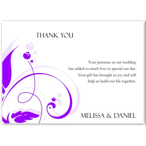 Modern Classic Purple Wedding Thank You Card 10Pk inc envelopes
