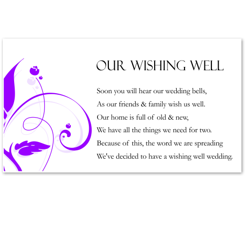 Modern Classic Purple Wedding Wishing Well Card 10Pk