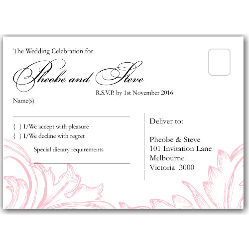 Damask Pink Wedding RSVP Postcard 10Pk
