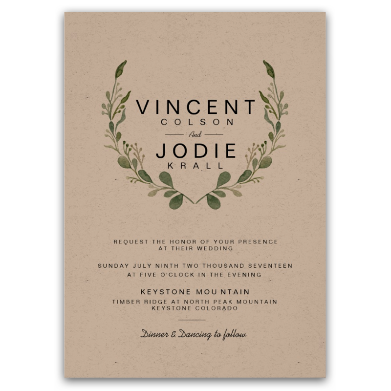 Rustic Greenery Wreath Watercolor Wedding Invite